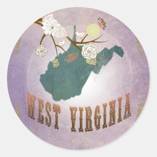 Vintage West Virginia State Map- Sweet Lavender Sticker
