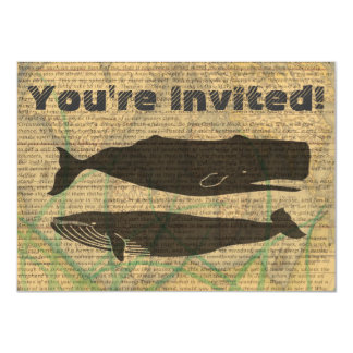 Vintage whale nautical rustic beachy card