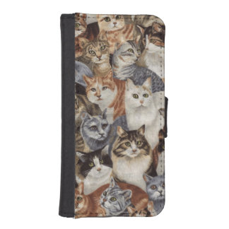 Vintage Whimsical Cat Fabric Phone Wallet Case