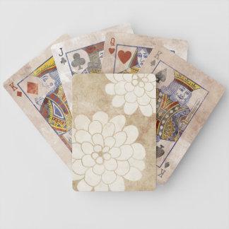 Vintage White Dahlia Floral Wedding Poker Deck