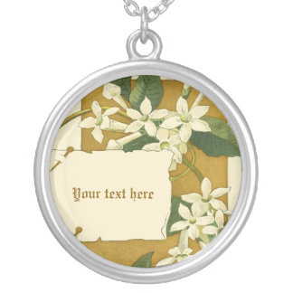 Vintage white jasmine flowers silver necklace