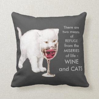 Vintage White Kitten Drinking Red Wine Art Quote Cushion