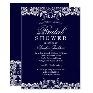 Vintage White Lace Navy Bridal Shower Card