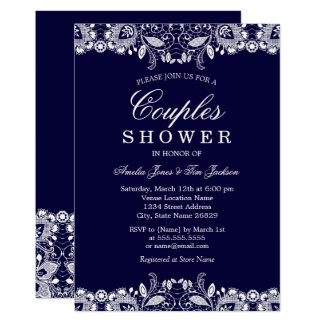 Vintage White Lace Navy Couples Shower Card