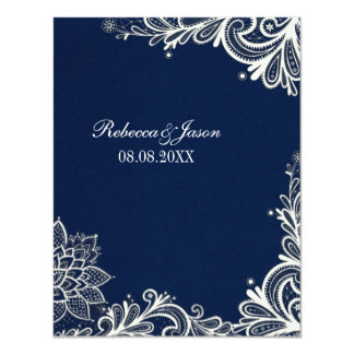 vintage white lace pattern navy blue wedding card