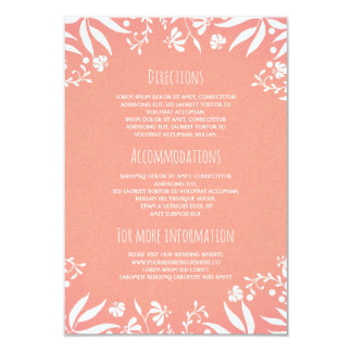 Vintage White Pink Floral Wedding Information 9 Cm X 13 Cm Invitation Card