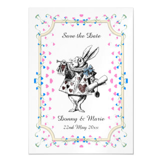 Vintage White Rabbit Alice in Wonderland Date Magnetic Invitations