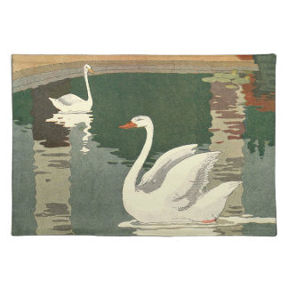Vintage White Swans Placemat