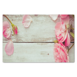 "vintage white wood wall pink roses, shabby chic 10"" x 15"" tissue paper"