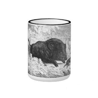 Vintage Wild Boar Hunt Ringer Mug