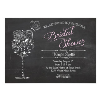 Vintage Wine Glass Bridal Shower INvitation