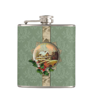 Vintage Winter Scene on Green Damask Hip Flask