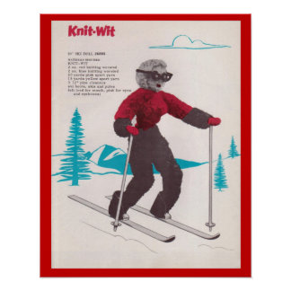 Vintage winter sports Knit-wit Poster