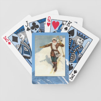 Vintage Winter Sports - Lady on the slopes Bicycle Playing Cards