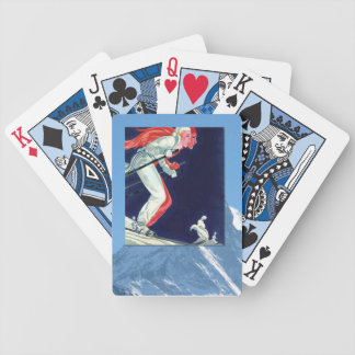Vintage Winter Sports - Racing down the mountain Bicycle Playing Cards