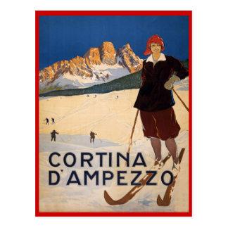 Vintage winter sports, Ski Cortina d'Ampezzo, Postcard