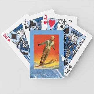 Vintage Winter Sports - Ski jumper Bicycle Playing Cards