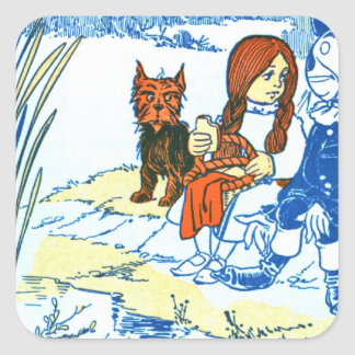 Vintage Wizard of Oz Illustration - Pond Square Sticker