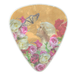 Vintage Woman Butterfly Floral Collage Pearl Celluloid Guitar Pick