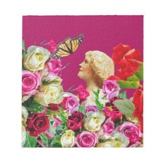 Vintage Woman Butterfly Floral Pink Notepad