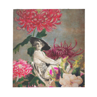 Vintage Woman Flower Collage Notepad