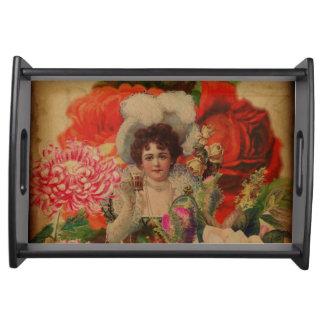 Vintage Woman Flower Garden Collage Serving Tray