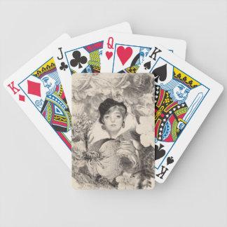 Vintage Woman Flower Garden Grunge Bicycle Playing Cards