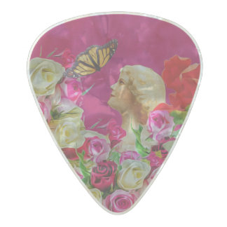 Vintage Woman Flowers Butterfly Pearl Celluloid Guitar Pick