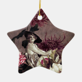 Vintage Woman Glass Floral Collage Christmas Ornament