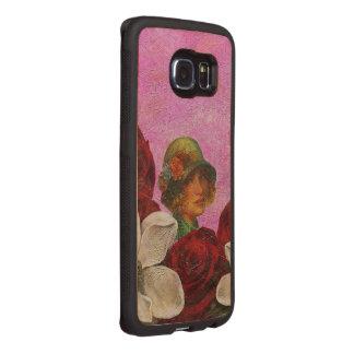 Vintage Woman Pink Roses Wood Phone Case