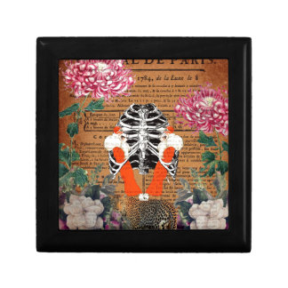 Vintage Woman Ribcage Floral Collage Gift Box