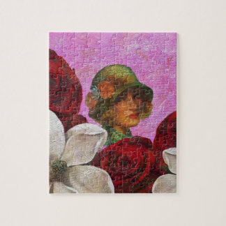 Vintage Woman Rose Flowers Jigsaw Puzzle
