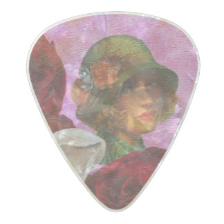 Vintage Woman Rose Flowers Pearl Celluloid Guitar Pick