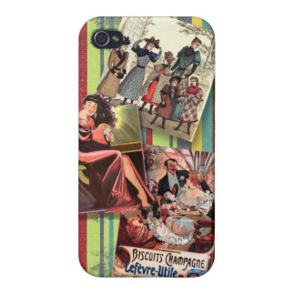 Vintage women on retro stripes cases for iPhone 4