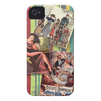 Vintage women on retro stripes iPhone 4 Case-Mate case