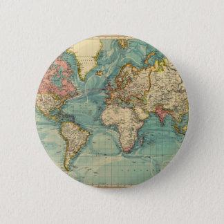 Vintage World Map 6 Cm Round Badge