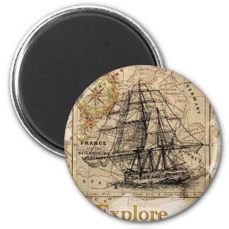 Vintage World Map 6 Cm Round Magnet