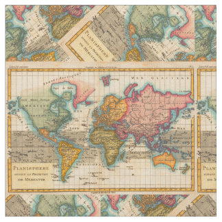 World map fabric for upholstery quilting crafts zazzle vintage world map fabric gumiabroncs Choice Image