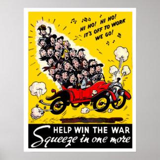 Vintage World War 2 Carpooling Poster