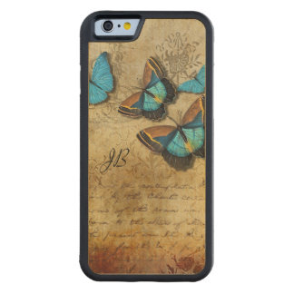 Vintage Writing and Butterflies Carved Maple iPhone 6 Bumper Case