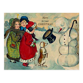 vintage xmas children postcard