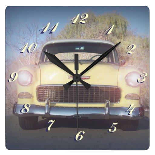 Vintage Yellow Auto Wall Clock