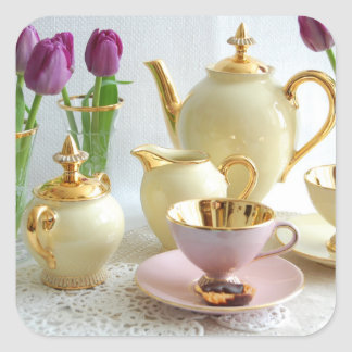 Vintage yellow, gold and pink Tea/Coffee stickers