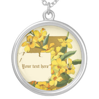 Vintage yellow jasmine flowers silver necklace