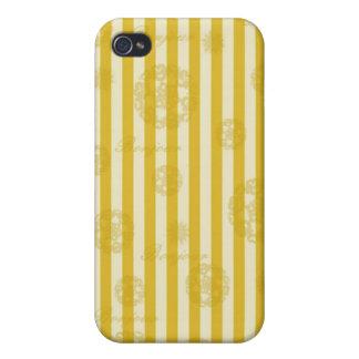 Vintage Yellow Stripes Gold Paris Damask Pattern iPhone 4 Case