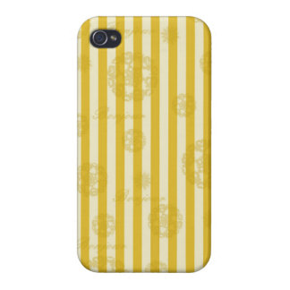 Vintage Yellow Stripes Gold Paris Damask Pattern Cases For iPhone 4