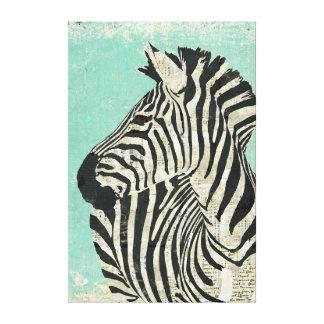 Vintage Zebra Blue Canvas Canvas Print