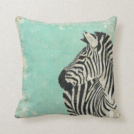 Vintage Zebra Blue  MoJo Pillow