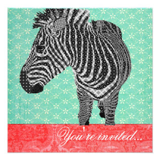 Vintage Zebra Turquoise Red Personalized Announcement