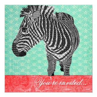 Vintage Zebra Turquoise Red 5.25x5.25 Square Paper Invitation Card